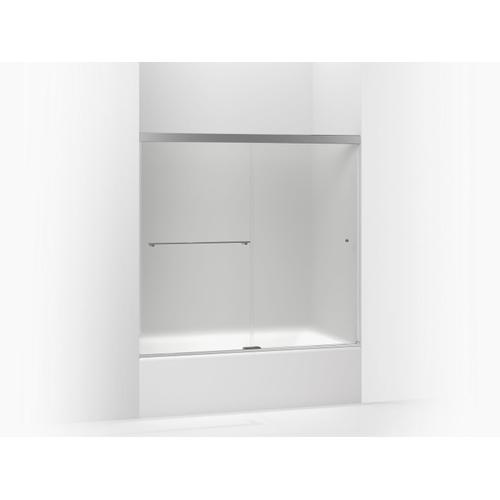 """Frosted Glass With Bright Polished Silver Frame Sliding Bath Door, 62"""" H X 56-5/8 - 59-5/8"""" W, With 5/16"""" Thick Frosted Glass"""
