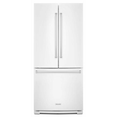 KitchenAid - 20 cu. Ft. 30-Inch Width Standard Depth French Door Refrigerator with Interior Dispense - White