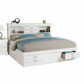 ACME Louis Philippe III Eastern King Bed w/Storage - 24487EK - White