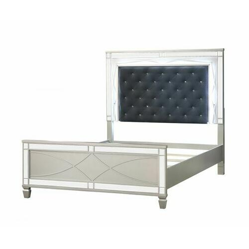 ACME Marcellus Eastern King Bed - 22177EK - Glam - PU, Wood (Pine), MDF, Ply - PU and Silver