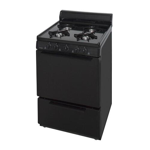 Premier - 24 in. Freestanding Battery-Generated Spark Ignition Gas Range in Black