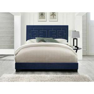 ACME Ishiko III Queen Bed - 21640Q - Dark Blue Velvet