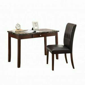 ACME Sydney 2Pc Pack Desk & Chair - 92211 - Black Faux Marble & Dark Walnut