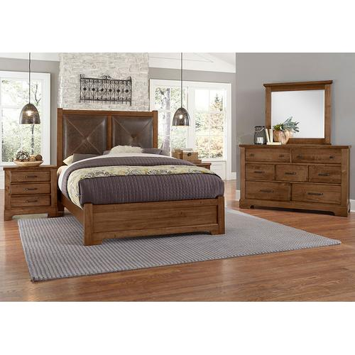 Vaughan-Bassett - King Leather Bed with Low Profile Footboard