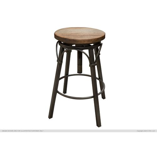 "24-30"" Adjustable Swivel Stool, Wooden Seat, Straight Leg"