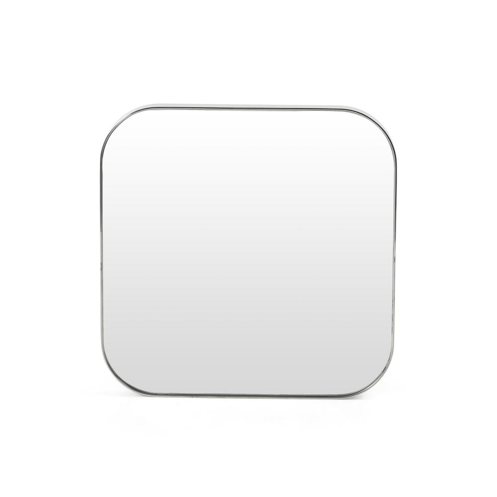 Small Size Shiny Steel Finish Bellvue Square Mirror