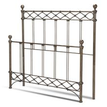See Details - Argyle Metal Headboard and Footboard Bed Panels with Diamond Pattern Top Rail and Double Spindle Castings, Copper Chrome Finish, Queen