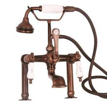 """See Details - Clawfoot Tub Filler - Elephant Spout, Hand Held Shower, 6"""" Elbow Mounts - Lever Handles / Oil Rubbed Bronze"""