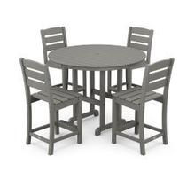 View Product - Lakeside 5-Piece Round Counter Side Chair Set in Slate Grey