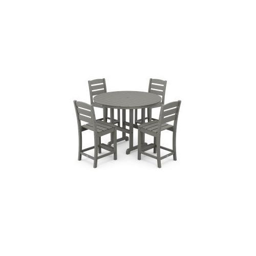 Polywood Furnishings - Lakeside 5-Piece Round Counter Side Chair Set in Slate Grey