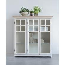 "See Details - 41""L x 14-3/4""W x 42""H Wood Cabinet w/ 3 Glass Doors & 2 Shelves"