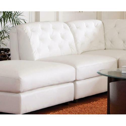 See Details - Quinn White Leather Armless Chair