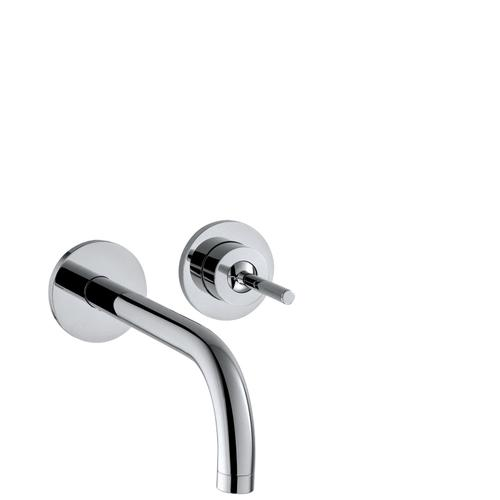 Brushed Brass Single lever basin mixer for concealed installation wall-mounted with spout 165 mm and escutcheons