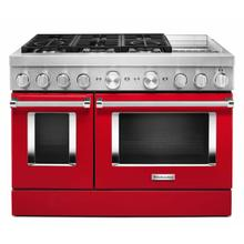 View Product - KitchenAid® 48'' Smart Commercial-Style Dual Fuel Range with Griddle - Passion Red
