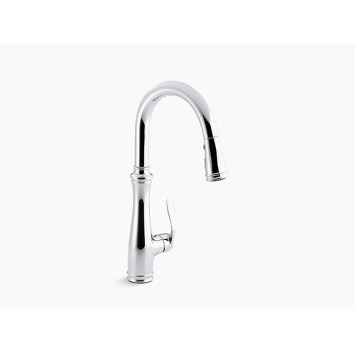"""Vibrant Stainless Single-hole or Three-hole Kitchen Sink Faucet With Pull-down 16-3/4"""" Spout and Right-hand Lever Handle, Docknetik Magnetic Docking System, and A 3-function Sprayhead Featuring Sweep Spray"""