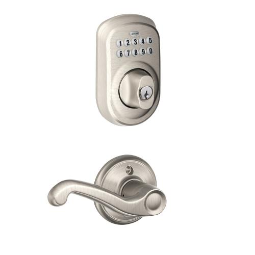 Plymouth Trim Keypad Deadbolt paired with Flair Lever Hall & Closet Lock - Satin Nickel