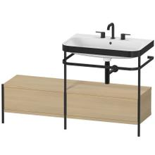 Furniture Washbasin C-bonded With Metal Console Floorstanding, Mediterranean Oak (real Wood Veneer)