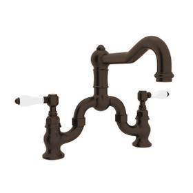Tuscan Brass Acqui Deck Mount Column Spout Bridge Kitchen Faucet with Porcelain Lever