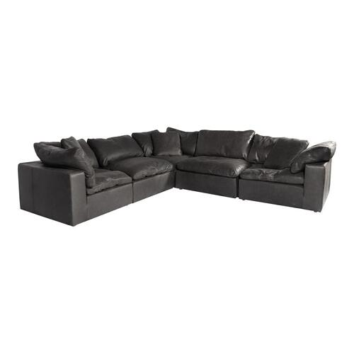 Moe's Home Collection - Clay Classic L Modular Sectional Nubuck Leather Black