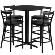 24'' Round Black Laminate Table Set with 4 Ladder Back Metal Barstools - Black Vinyl Seat