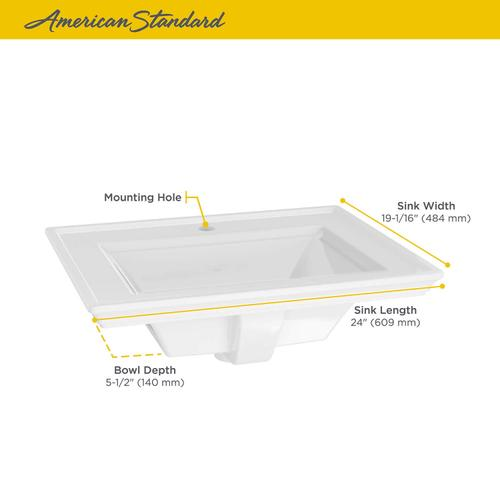 American Standard - Town Square S Drop-In Bathroom Sink Center Hole  American Standard - White