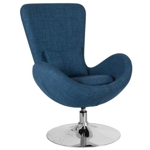 Blue Fabric Side Reception Chair