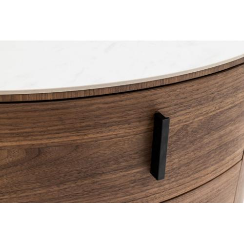 VIG Furniture - Modrest Chelton - Contemporary White Ceramic & Walnut Oval Nightstand
