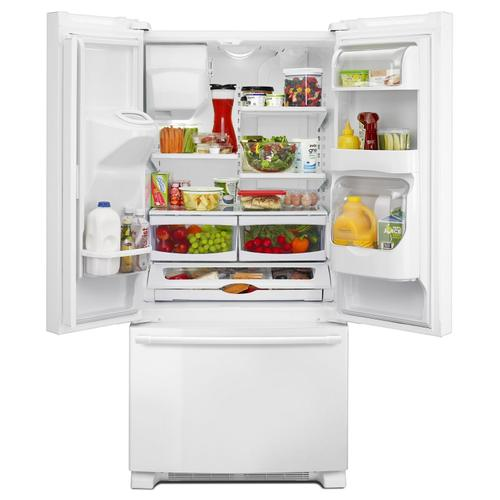 Maytag - 33- Inch Wide French Door Refrigerator with Beverage Chiller™ Compartment - 22 Cu. Ft. White