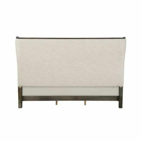 ACME Lorenzo Queen Bed - 28090Q - Transitional - Fabric, Wood (Poplar+Pine+Rbw), Wood Veneer (Cherry), Ply, PB - Beige Fabric and Espresso