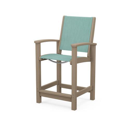 Polywood Furnishings - Coastal Counter Chair in Vintage Sahara / Aquamarine Sling