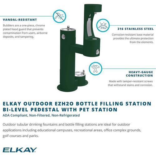 Elkay Outdoor EZH2O Bottle Filling Station Bi-Level, Pedestal with Pet Station Non-Filtered Non-Refrigerated Beige