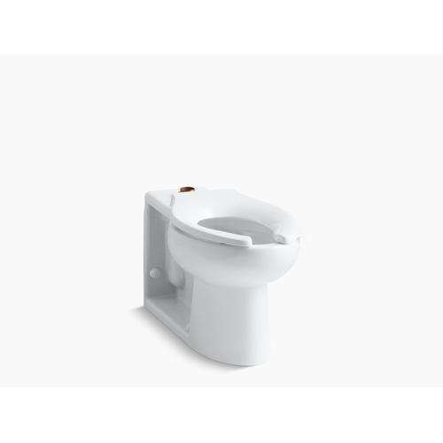 White Floor-mounted Top Spud Antimicrobial Flushometer Bowl