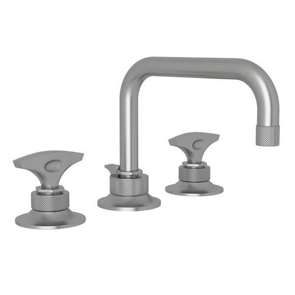 Pewter Graceline U-Spout Widespread Lavatory Faucet with Metal Dial Handle Graceline Series Only