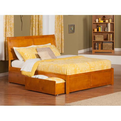Portland King Flat Panel Foot Board with 2 Urban Bed Drawers Caramel Latte