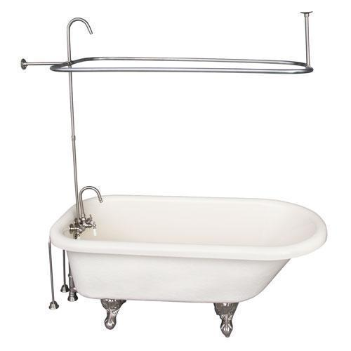 "Andover 60"" Acrylic Roll Top Tub Kit in Bisque - Brushed Nickel Accessories"