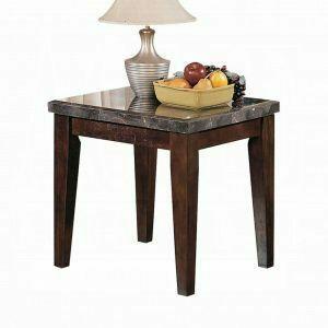 ACME Danville End Table - 07143B - Black Marble & Walnut