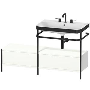 Furniture Washbasin C-bonded With Metal Console Floorstanding, White Satin Matte (lacquer)