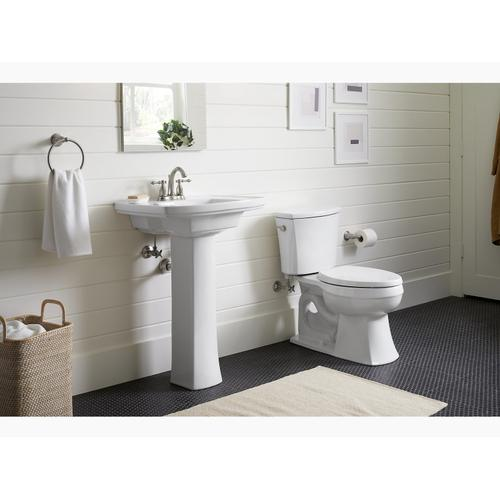 "White Pedestal Bathroom Sink With 4"" Centerset Faucet Holes"