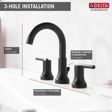 Matte Black Two Handle Widespread Bathroom Faucet
