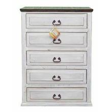 See Details - White/brown 5 Drw Chest