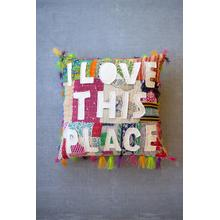 See Details - i love this place kantha pillow