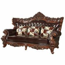 ACME Forsythia Sofa w/3 Pillows - 53070 - Espresso Top Grain Leather Match & Walnut