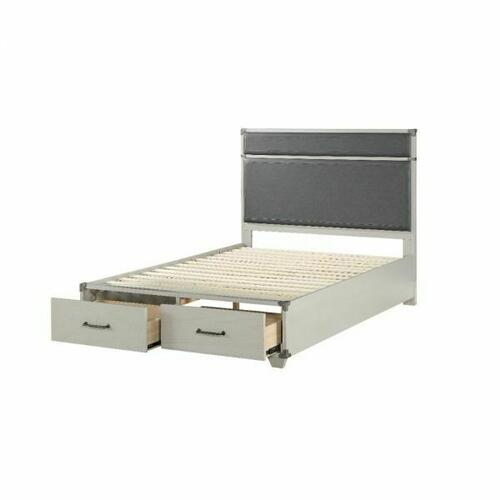 ACME Orchest Full Bed (Storage) - 36135F - Transitional, Industrial - Wood (Poplar/Pine), MDF - Gray PU and Gray