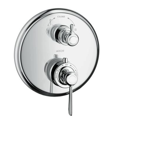 Brushed Brass Thermostat for concealed installation with lever landle and shut-off/ diverter valve