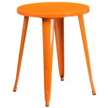 24'' Round Orange Metal Indoor-Outdoor Table