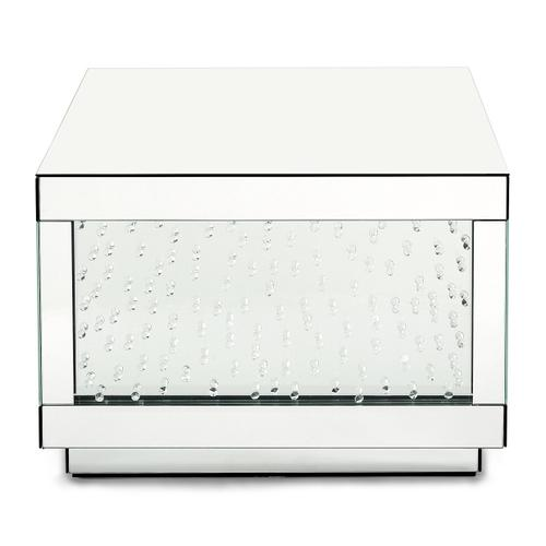 Amini - Rect Silver Mirrored Cocktail Table W/crystals