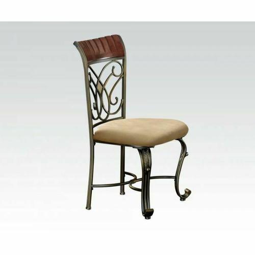 Acme Furniture Inc - ACME Omari Side Chair (Set-2) - 70103M - Cream Microfiber - Cherry & Bronze
