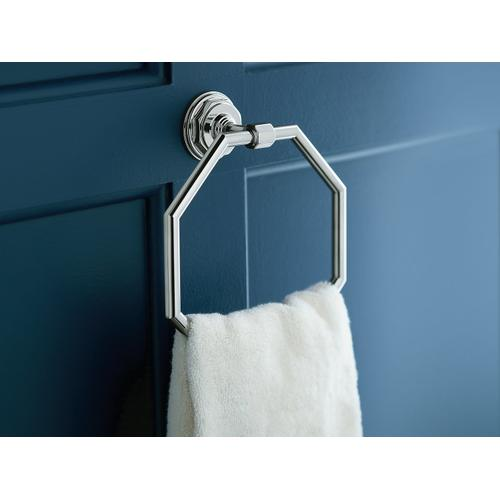 Vibrant Brushed Nickel Towel Ring