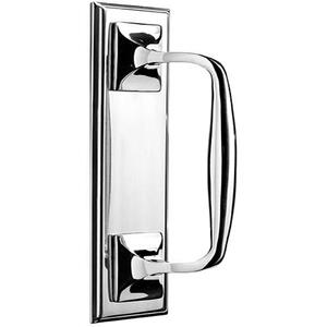 Satin Nickel Pull handle on plate, concealed fix