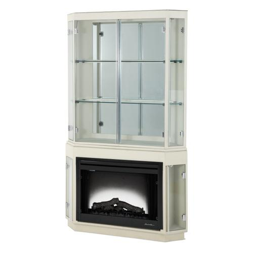 Pearl Caviar Fireplace W/curio Top & Electric Insert (3 Pc)